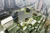 """""""杭州之角""""--浙江印刷集团总部项目是零壹城市应对复杂城市环境挑战的又一充满智慧的力作。项目场地位于杭州市核心城区,场地北面和东面紧邻车速较快的城市主干道及高架桥,西面和南面是市中心的一片旧住宅区,西北面是京杭大运河及市中心地标西湖文化广场。场地离西湖仅1.8公里,70m以上部分能望到湖面。"""