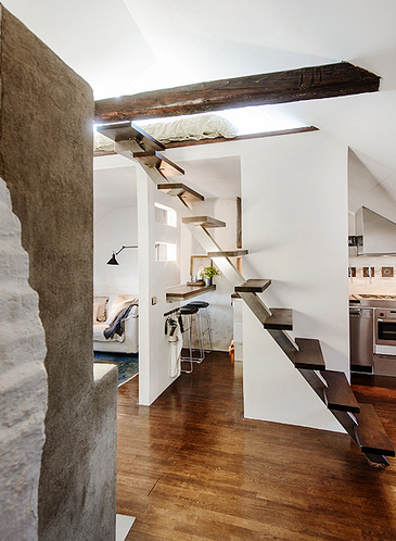 40平米充分利用,北欧风格阁楼公寓