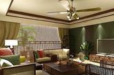 胡军家为美式豪宅,铁艺吊灯、铁艺鸟笼和沙发,简约的实木茶几,棉麻窗帘搭配出美式的家。