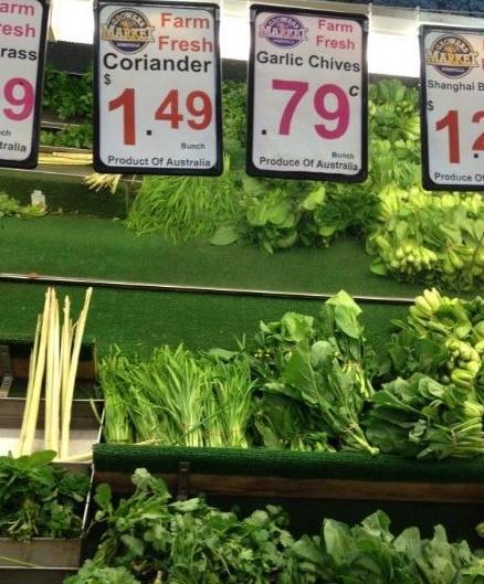 人民币/韭菜一把79澳分,大约5块4人民币。