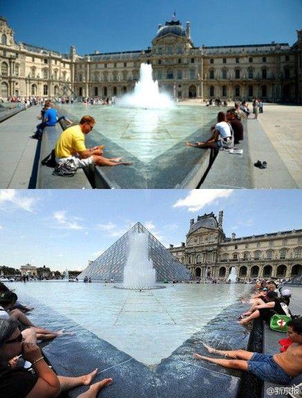 中国游客被曝在法国卢浮宫前水池泡脚(图)