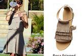 杰西卡-阿尔芭(Jessica Alba)穿着Rosa Fringed Suede Sandals by Gerard Darel平底凉鞋搭配连衣裙出街,清新可爱。