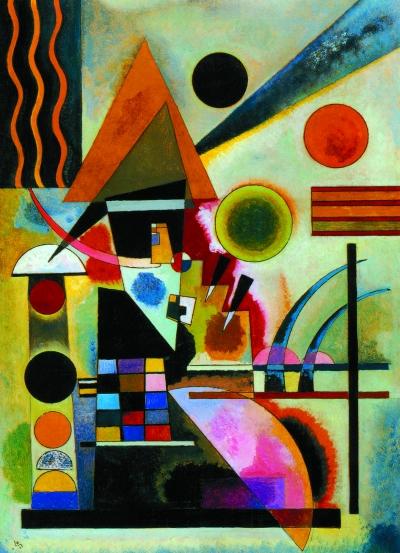马列维奇抽象画作品-康定斯基 倾听 色彩