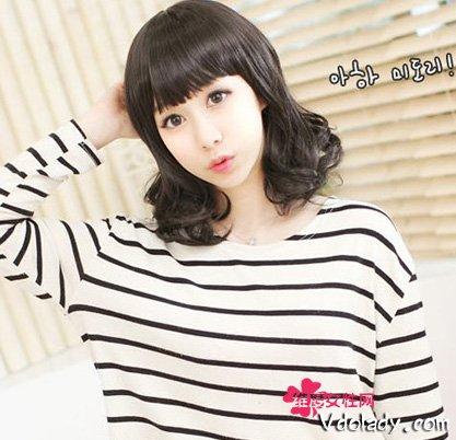 鹅蛋脸mm厚刘海齐肩梨花头发型 甜美可爱 减龄瘦脸