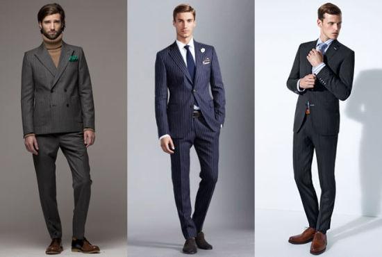 深灰、蓝色系列条纹西装