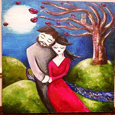 """女艺术家油画""""预言""""未来丈夫"""