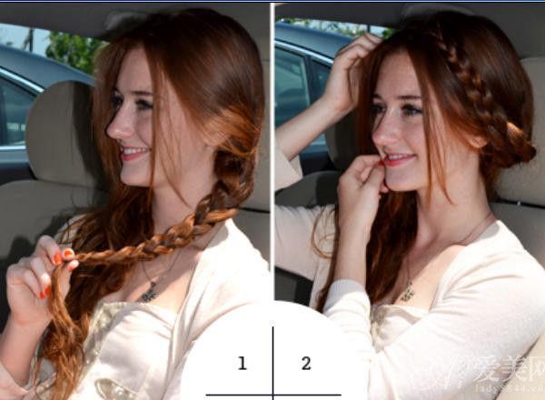 1左侧的头发编成一条粗侧麻花辫