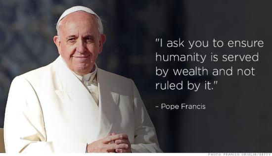 罗马教皇方济各呼吁全球精英帮助穷人