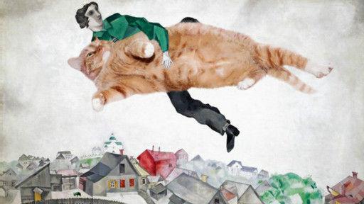 这幅画就是佩特洛娃在马克·夏加尔的名画上放上了的查拉图斯特拉的照片的再创作。