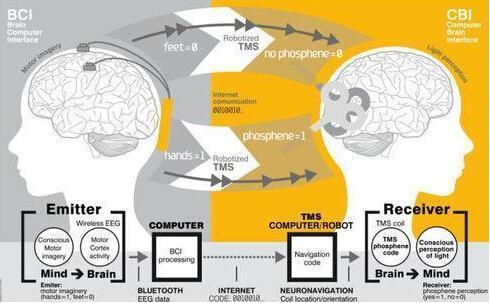 """""""脑对脑""""传输:用互联网发送""""思想"""""""
