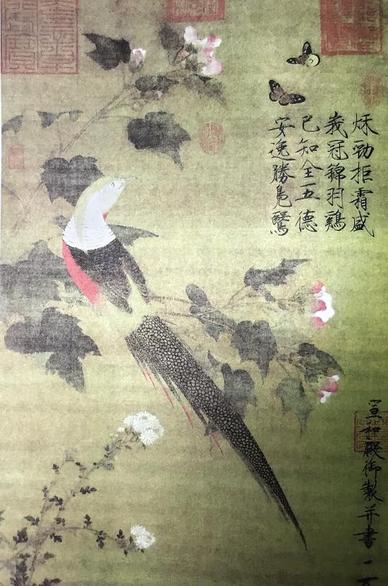 赵佶芙蓉锦鸡图轴