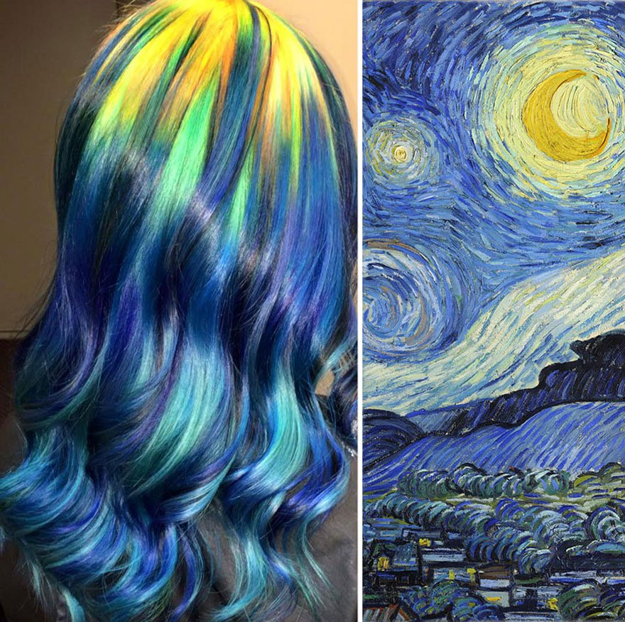 惊艳全球!美创意发型师将头发染成名画