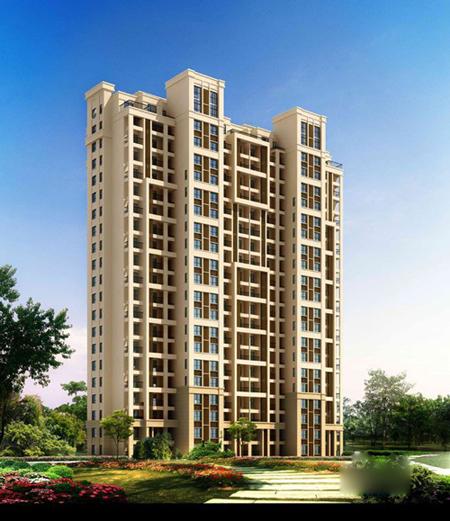 欧式简约风格板式高层建筑,外观挺拔大气,各楼体以品字形布局围合出大