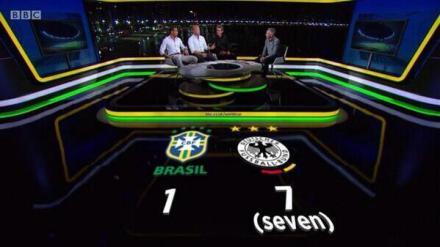 """认真的BBC,生怕观众们看错比分,特意在1:7的7下面标了个""""seven"""""""