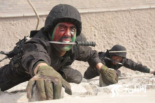 特种兵在训练攀爬技能 500