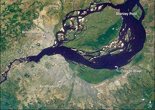 人类 金沙 布拉柴维尔 刚果河/刚果河流域的刚果/金沙布拉柴维尔(图片来源:NASA)