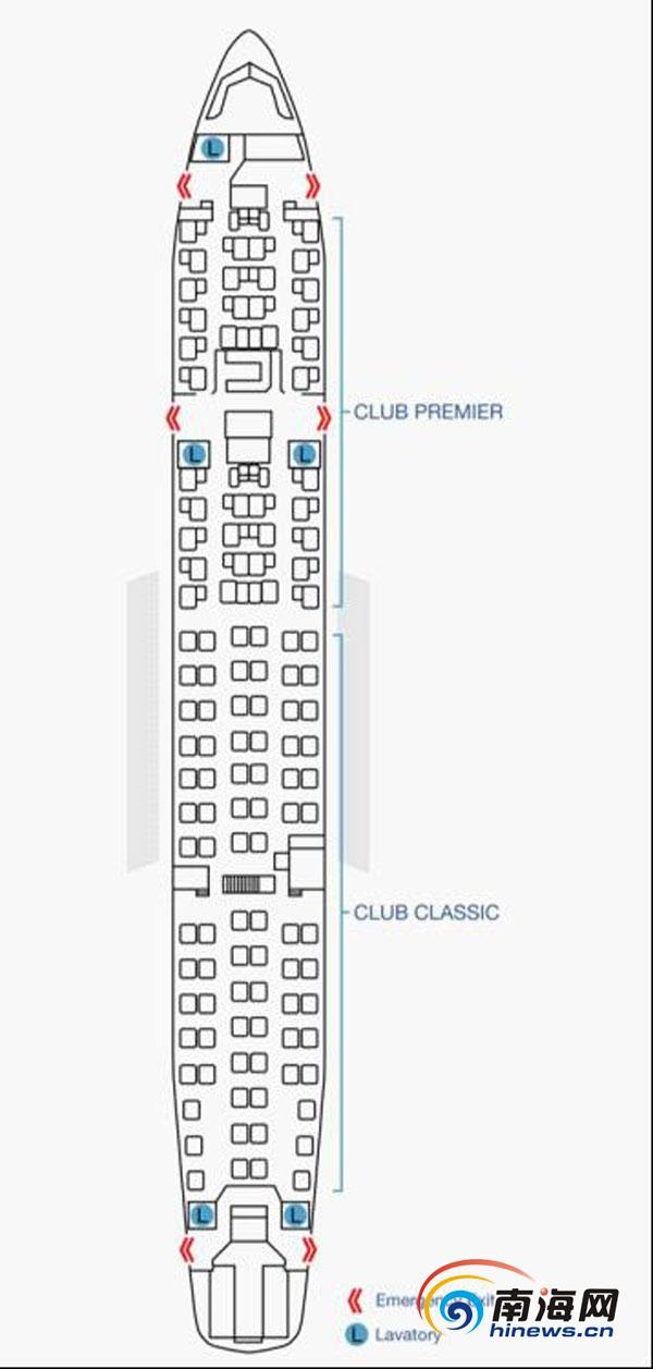 空中巴士A330-200全商务舱型客机座位表(海口美兰国际机场供图) 南海网3月30日消息(南海网记者 符泽亢 通讯员林一棉 冯丽文)3月29日下午,南海网记者从海南省海口美兰国际机场获悉,为助力博鳌亚洲论坛年会,香港航空全球首架A330-200全商务客机,计划于3月31日至4月4日执飞香港-海口航班。 据悉,该飞机于今年3月7日起正式投入运营,每天一班直航往返香港与伦敦。贵宾式的飞行享受,是这架飞机服务航线的亮点。每架客机的客舱均引进CLUB PREMIER 及CLUB CLASSIC两种座位编排