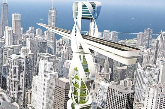 """380米高的摩天大楼""""greengru"""",设计灵感来自于城市建筑工地上的巨型"""