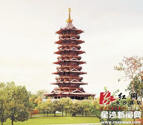 整个建筑群以仿唐设计风格为主,以佛塔为中心,佛塔采用钢结构,高108米