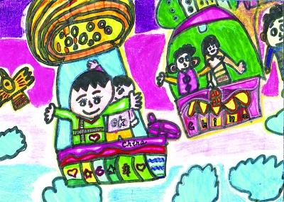 少儿组2号选手,8岁男孩乔谦的作品——《遨游太空》图片
