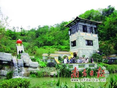 中国园林拱门手绘