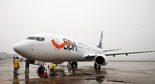 山航在济南遥墙国际机场迎来了机队新星b-5648号飞机