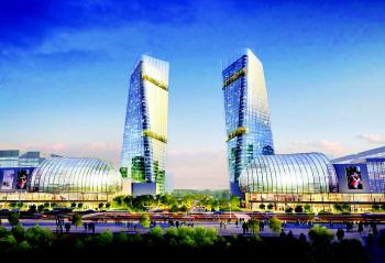 济南西客站片区齐鲁之门效果图-加快科学发展 建设美丽泉城高清图片
