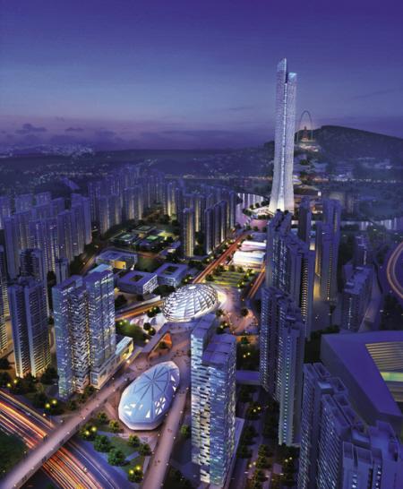 未来的城市中轴线夜景效果图.