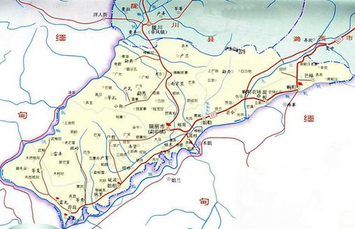 云南省德宏州芒市地图-德宏区位示意图.-李磊 创造沿边开放新奇迹图片