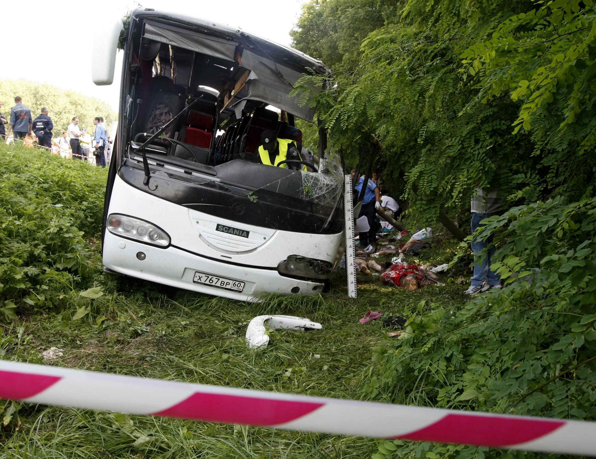 7月7日,乌克兰发生严重车祸,致14名俄罗斯人死亡22人受伤 高清图片