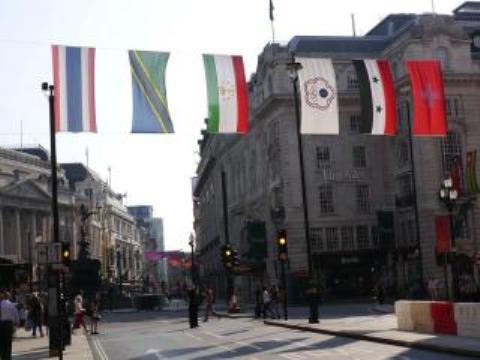 """原来挂在伦敦街头的""""青天白日满地红""""被换成中华台北奥委会会旗"""