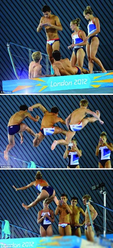 跳台上的跳水的小朋友们玩起了自拍,少年,差不多就好了啊,再拍不怕被