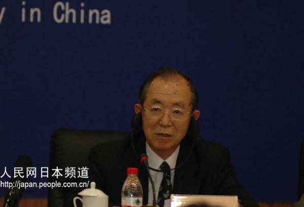 日本驻华大使丹羽宇一郎致辞。