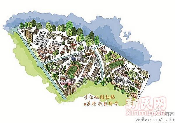 手绘上海9所高校地图