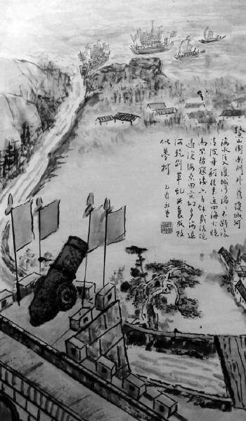 鳌山卫古城门外护城河图