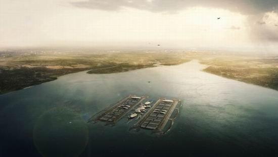 英最新设计水上漂浮机场 像外星人水上基地