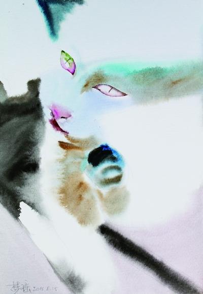 水彩笔猫咪画画图片