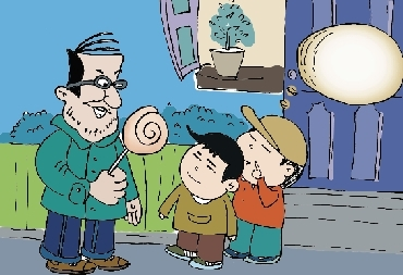 """记者边说着""""小朋友真可爱""""边把一个棒棒糖给她的儿子."""