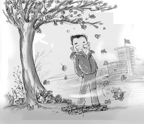 校园秋天素描手绘