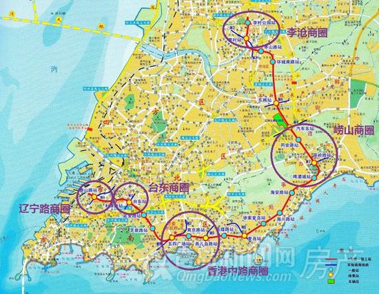 青岛市区交通地图