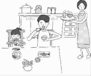 一家人吃饭卡通图片一家人吃饭漫画图片家人吃饭的 314