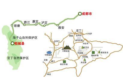 稻城旅游手绘地图