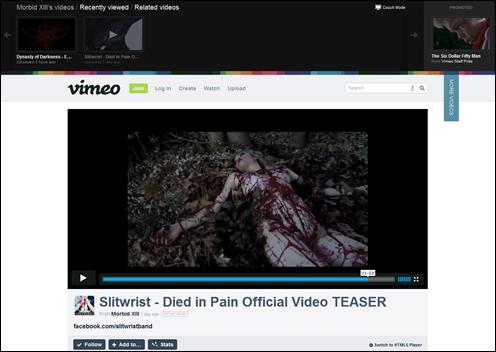 莫比德Slitwrist黑金属摇滚乐队挂在YouTube网站血腥音乐视频的画面。(网易截图)