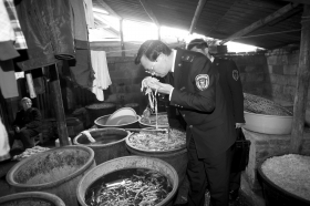 3月14日,长沙黎圫街道合丰社区,执法人员正在闻泡笋的味道。图/记者华剑