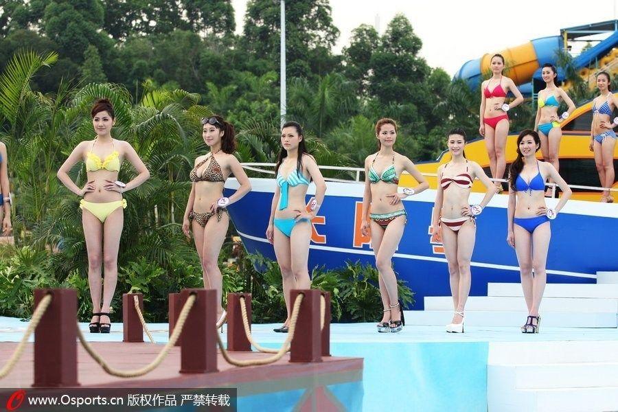 比基尼小姐大赛 众美女穿性感泳装玩拳击