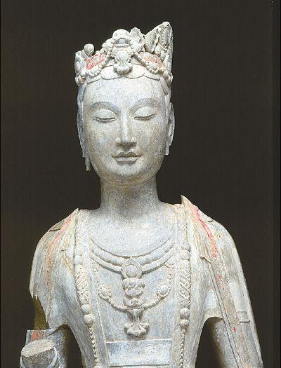 青州样式:贴金彩绘石雕观音菩萨立像(国宝华光)