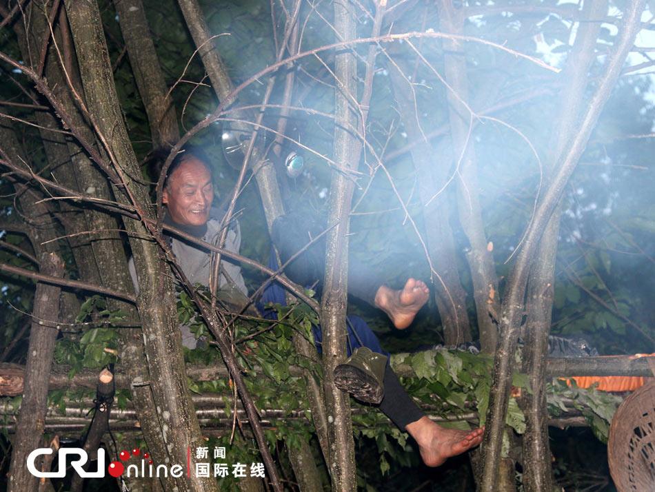 清晨,周正龙在树床上下来。图片来源:江苏李根/CFP