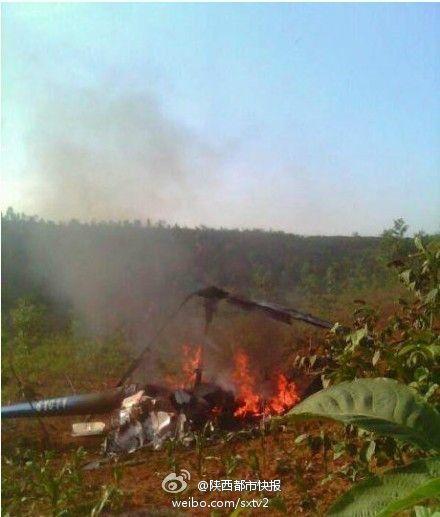6月3日下午六点半左右,一架直升飞机在西安市蓝田县坠毁,一名飞行员