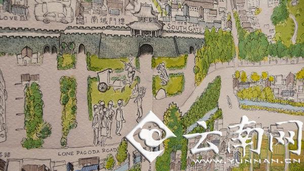 英国老外手绘大理古城图网络走红