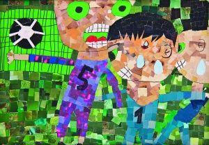儿童画《快乐足球》 作者:徐心蕊(10岁)-我爱画画